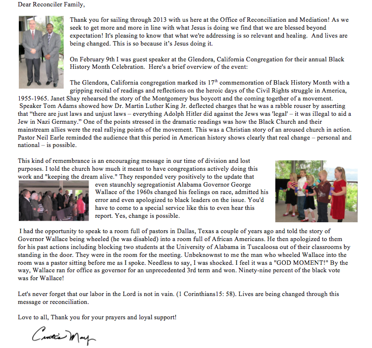 March Subscriber Letter | The Ministry of Reconciliation Blog