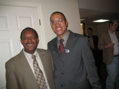 Curtis with Chris Haley, nephew of Alex Haley at the Utopia Film Festival.