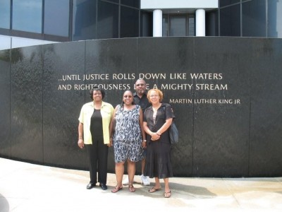 Jannice with Angela and Taylor Hooks and Annette Sweeting at the Civil Rights Memorial in Montgomery, AL.