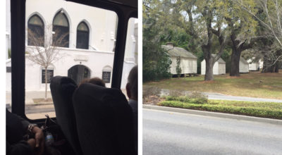 The Mother Emanuel Church and slave cabins in Charleston, South Carolina, as seen from our tour bus.
